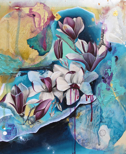 A mixed media painting of a blue magnolia flower
