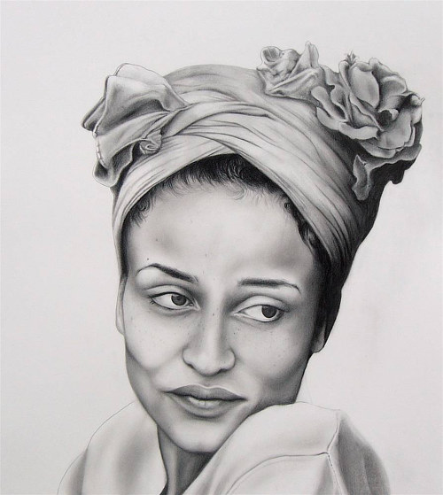 A realistic black and white portrait of a woman wearing a headwrap
