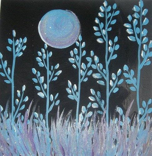 Painting of the moon above tall grass