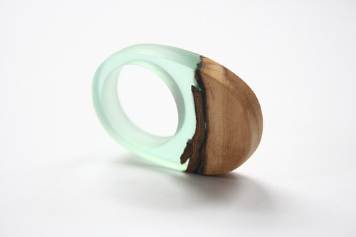 A chunky ring handmade from resin and Australian wood