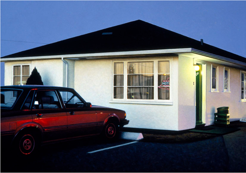 A painting of a car parked in front of a motel at daybreak