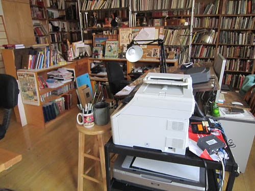 A photo of Art Spiegelman's art studio