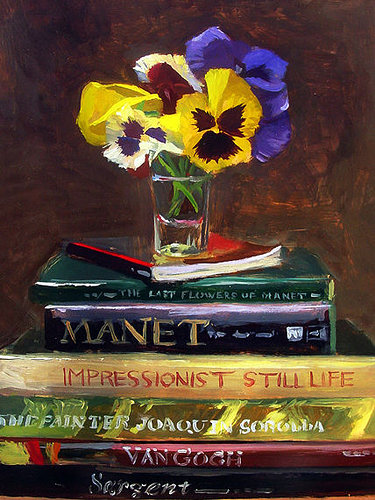Painting of flowers on top of impressionist books