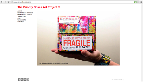 A screen capture of the priority boxes art project website