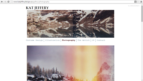 A screen capture of the photography gallery on Kat Jeffrey's website