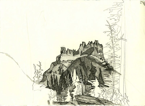 A  pen and ink illustration of a mountainous landscape