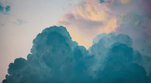 A painting of a cloud featuring tones of blue and cream