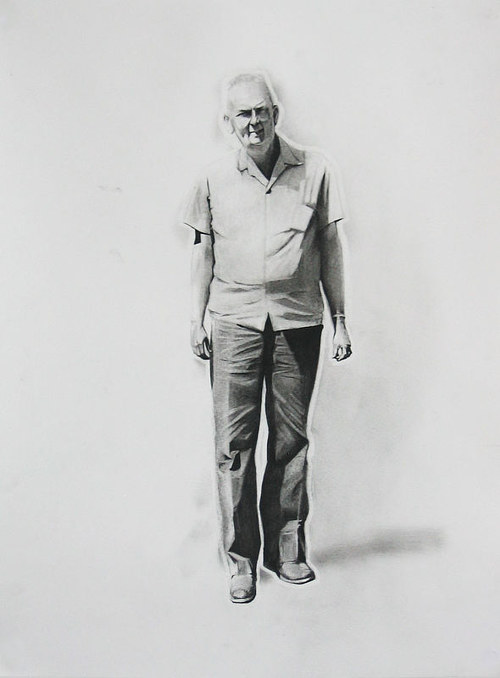 A detailed black and white charcoal drawing of a middle-aged man