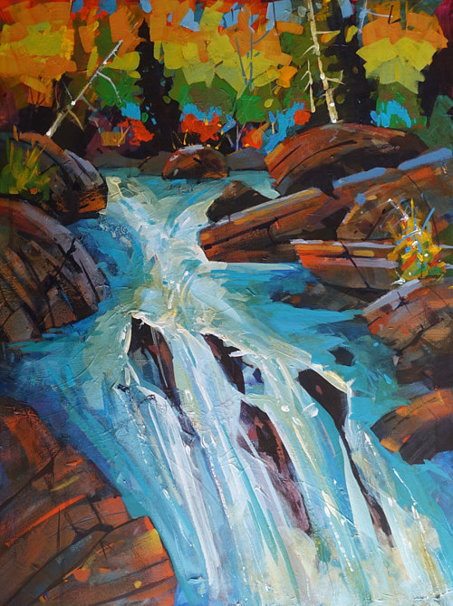 An impressionist style painting of a stream flowing through a forest