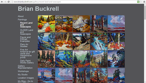 A gallery of landscape paintings on Brian Buckrell's website