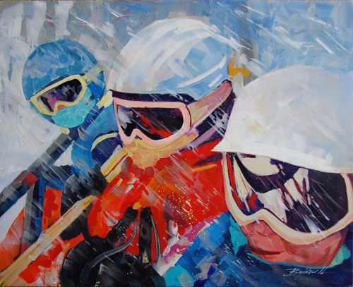 A painting of three children in ski gear in the snow