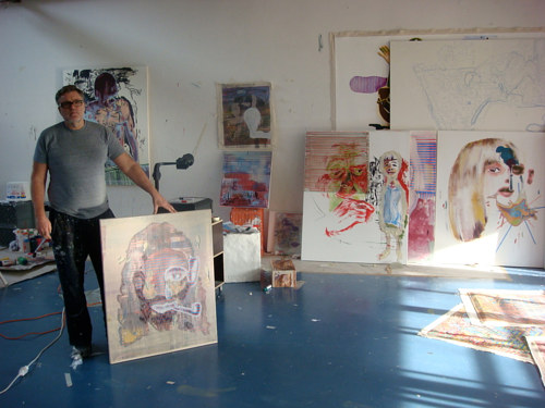 A photo of German contemporary artist Markus Oehlen in his studio
