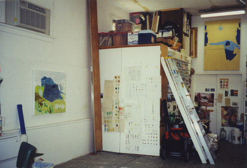 A photo of the storage space in Laura Owens' studio