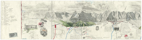 A mixed media drawing depicting maps and field notes