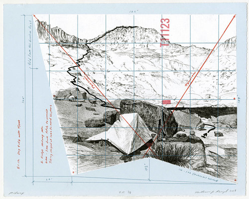 A drawing of a mountainous landscape on grid-lined paper