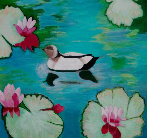 A painting of a duck floating on a waterlily pond