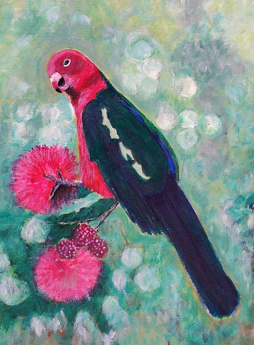 A painting of a parrot perched on a flowering tree