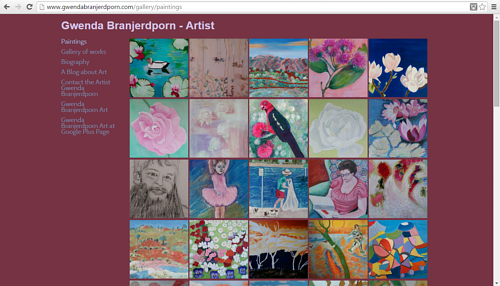 The gallery of paintings on Gwenda Branjerdporn's art website