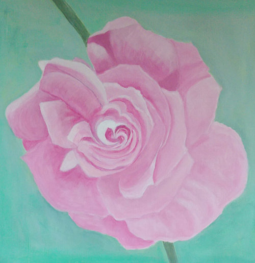 A painting of a pink rose on a teal background
