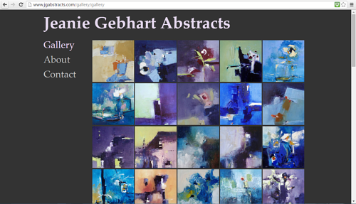 A screen capture of Jeanie Gebhart's online painting gallery