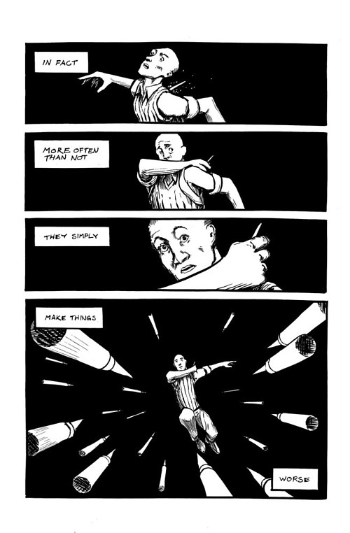 A page from a black and white comic series