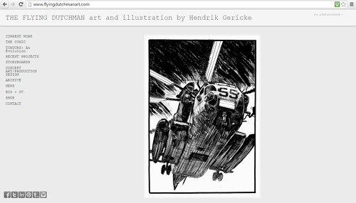 A screen capture of Hendrik Gericke's art website