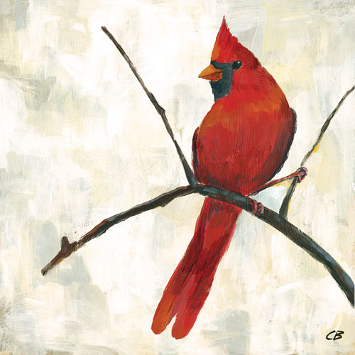 An art print of a painting of a red cardinal