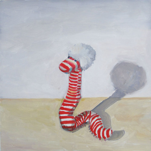 A painting of a sock puppet on a white background