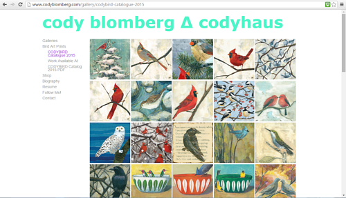 A screen capture of Cody Blomberg's gallery of bird art prints