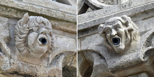 Gargoyles of two Charlie Hebdo cartoonists on a French church tower