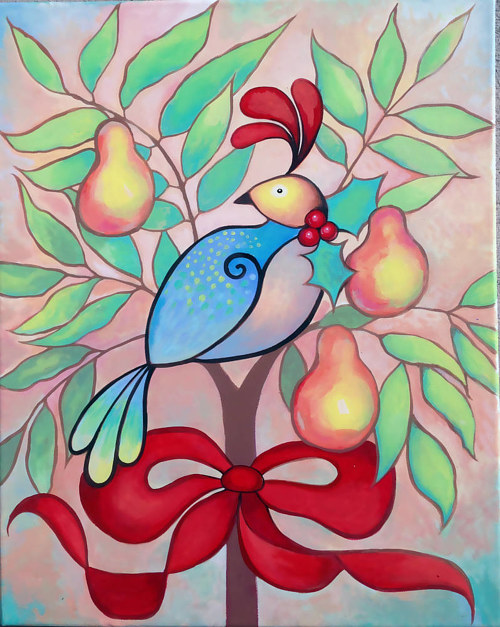 A pastel-coloured painting of a partridge in a pear tree