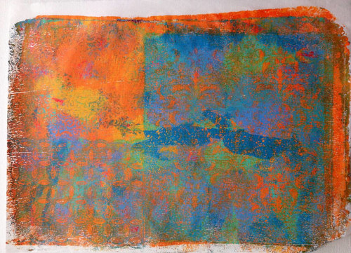 An abstract image made from multiple gelli prints on rice paper
