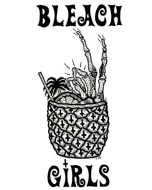 A black and white ink drawing of a bizarre cocktail