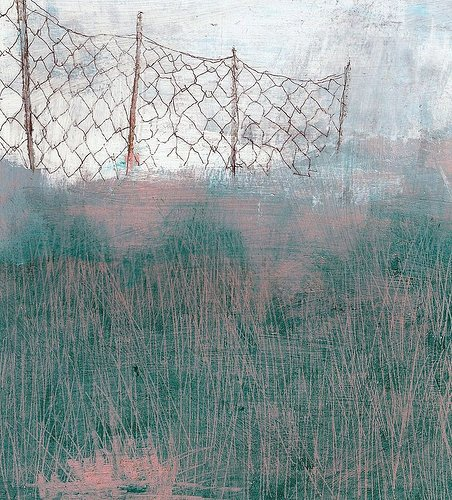 painting of a fence in tall grass