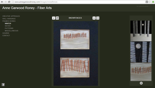 A screen capture of Anne Garwood Roney's art website