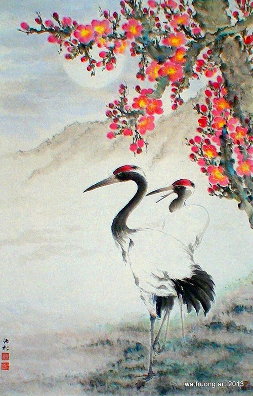 A traditional Asian watercolour of two herons