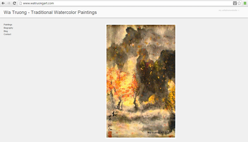 A screen capture of the front page of Wa Truong's art website