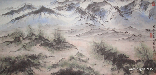 A watercolour painting of a Utah mountain range