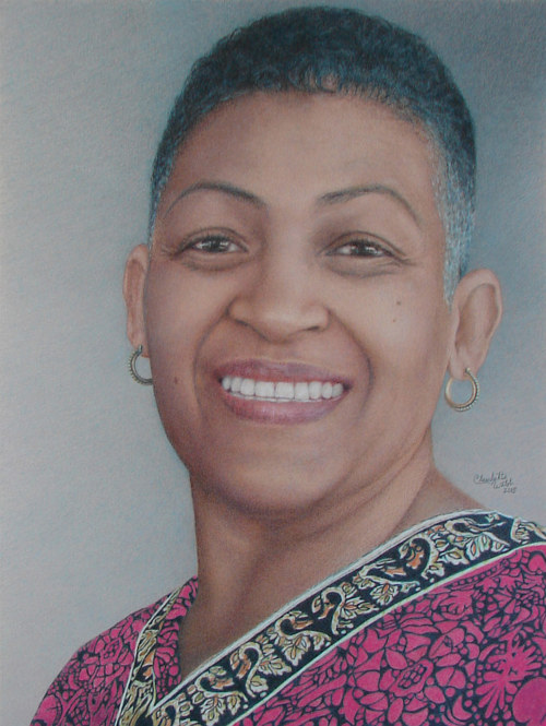 A coloured pencil drawing of a smiling woman with grey hair