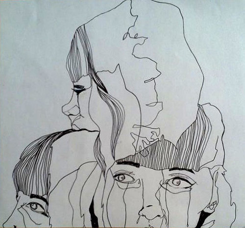 A contour drawing of several faces blending together