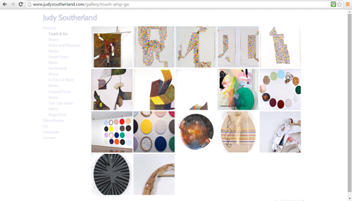 A screen capture of a gallery on Judy Southerland's art website