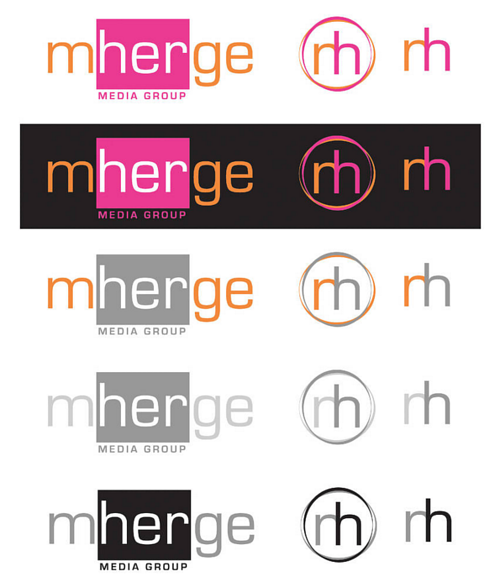 A logo design sheet for mHerge media group