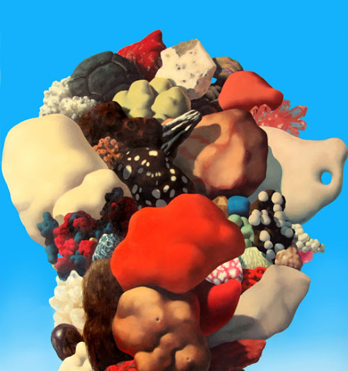 A painting of a cluster of strange coral forms