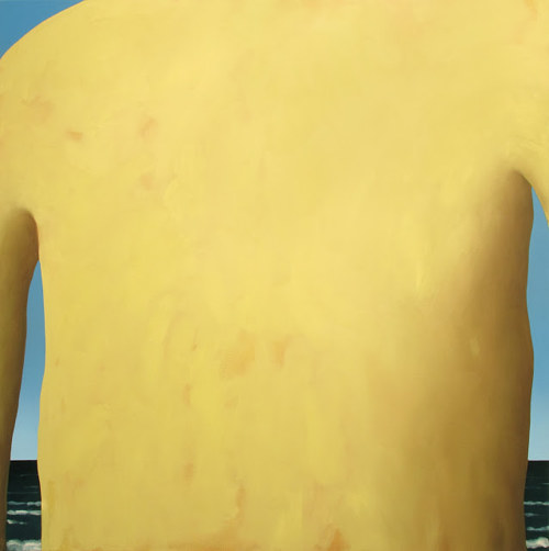 A painting of a yellow form that could be a person's back