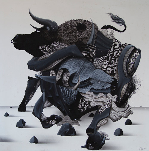 A mixed media image of a bull composed on multiple images