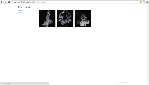 A screen capture of Emil Harko's website painting gallery