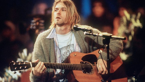 A photo of Kurt Cobain during Nirvana's MTV Unplugged appearance