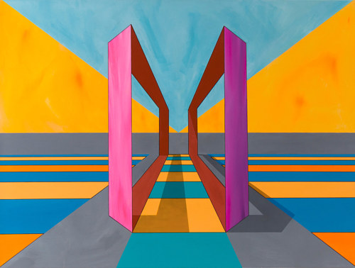 A geometric painting composed of flat planes of colour