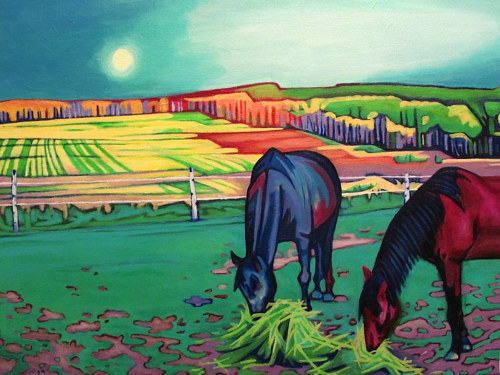 A painting of two horses grazing in a colourful landscape