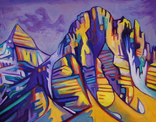 A colourful painting of a rocky mountain range